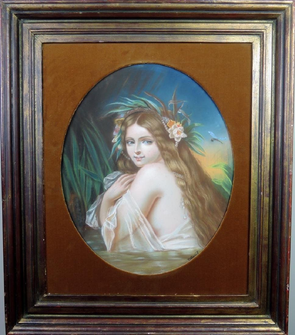 "Antique Pastel Painting ""Bathing Nymph"""