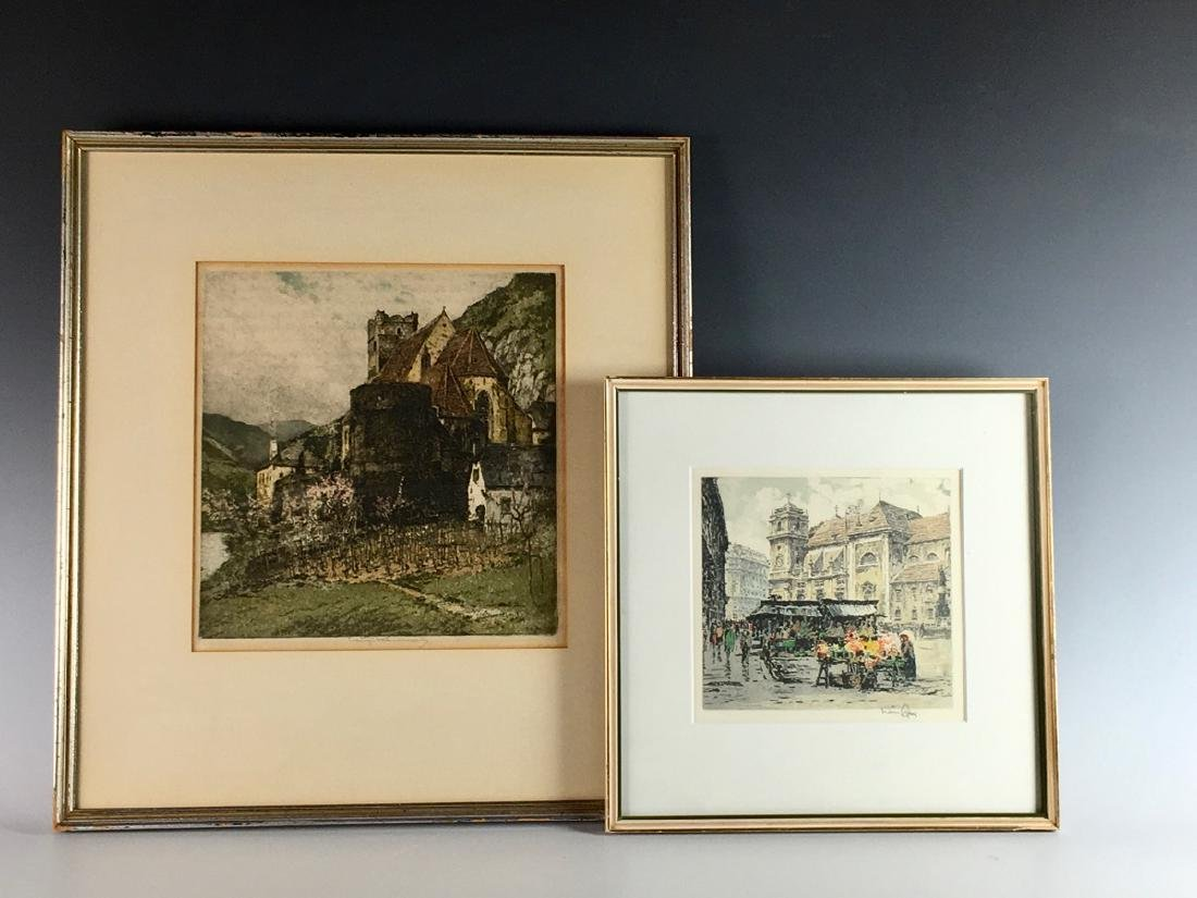 Pair of Signed Colored Etchings