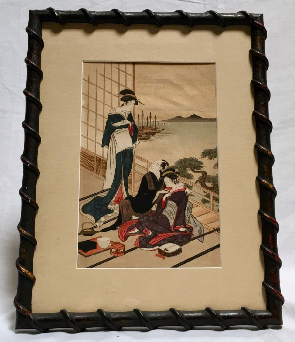 "Japanese Woodblock Copy ""2 Geishas & Man"""