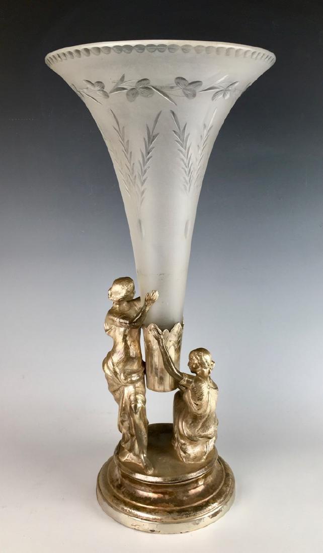 Meriden & Co. Silverplate & Glass Trumpet Vase