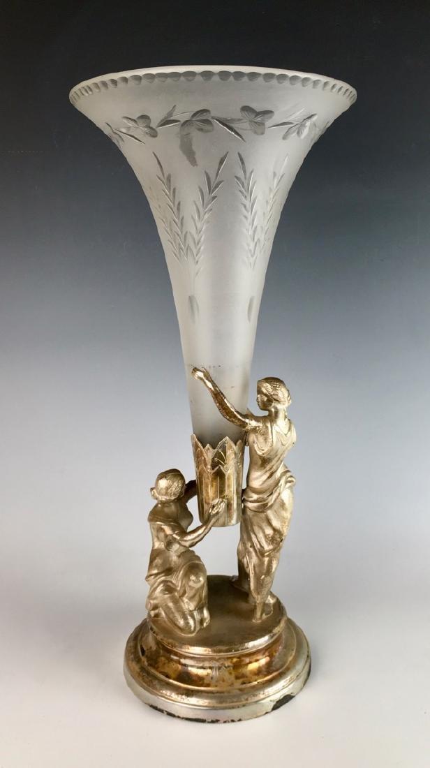 Meriden & Co. Silverplate & Glass Trumpet Vase - 2