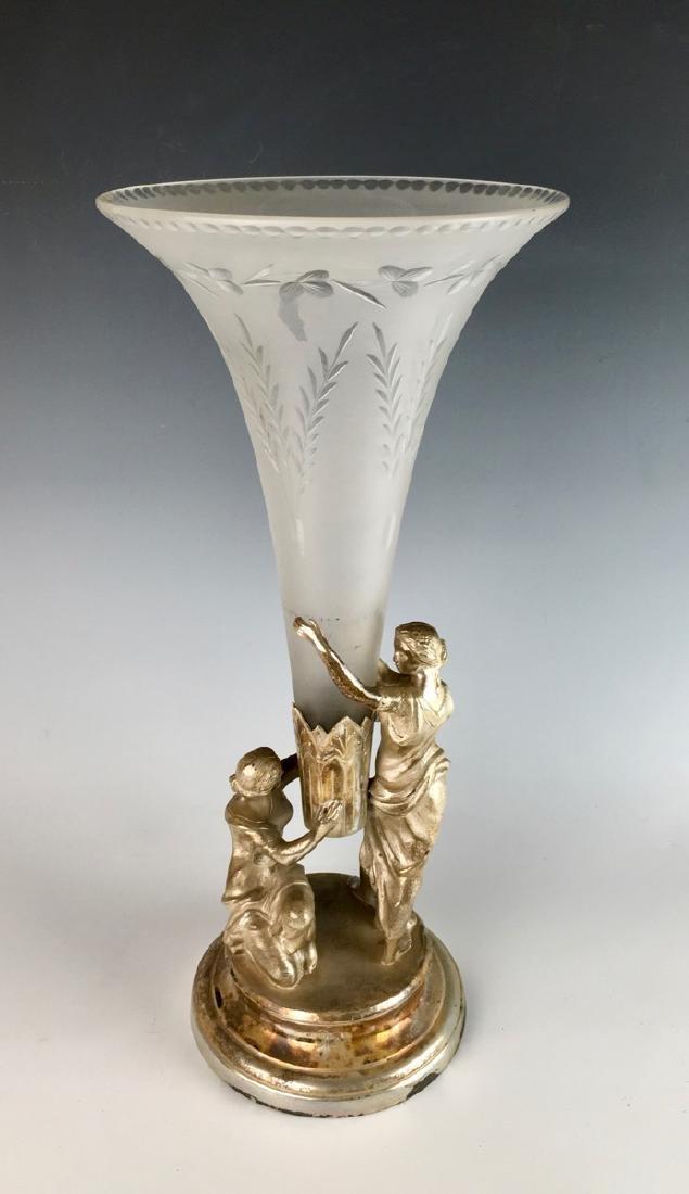 Meriden & Co. Silverplate & Glass Trumpet Vase - 3