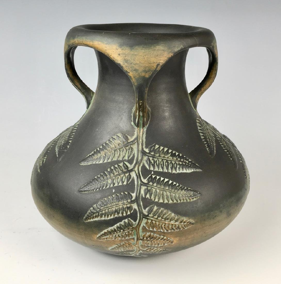 Norse Pottery Four Handled Vase w/ Ferns C.1900