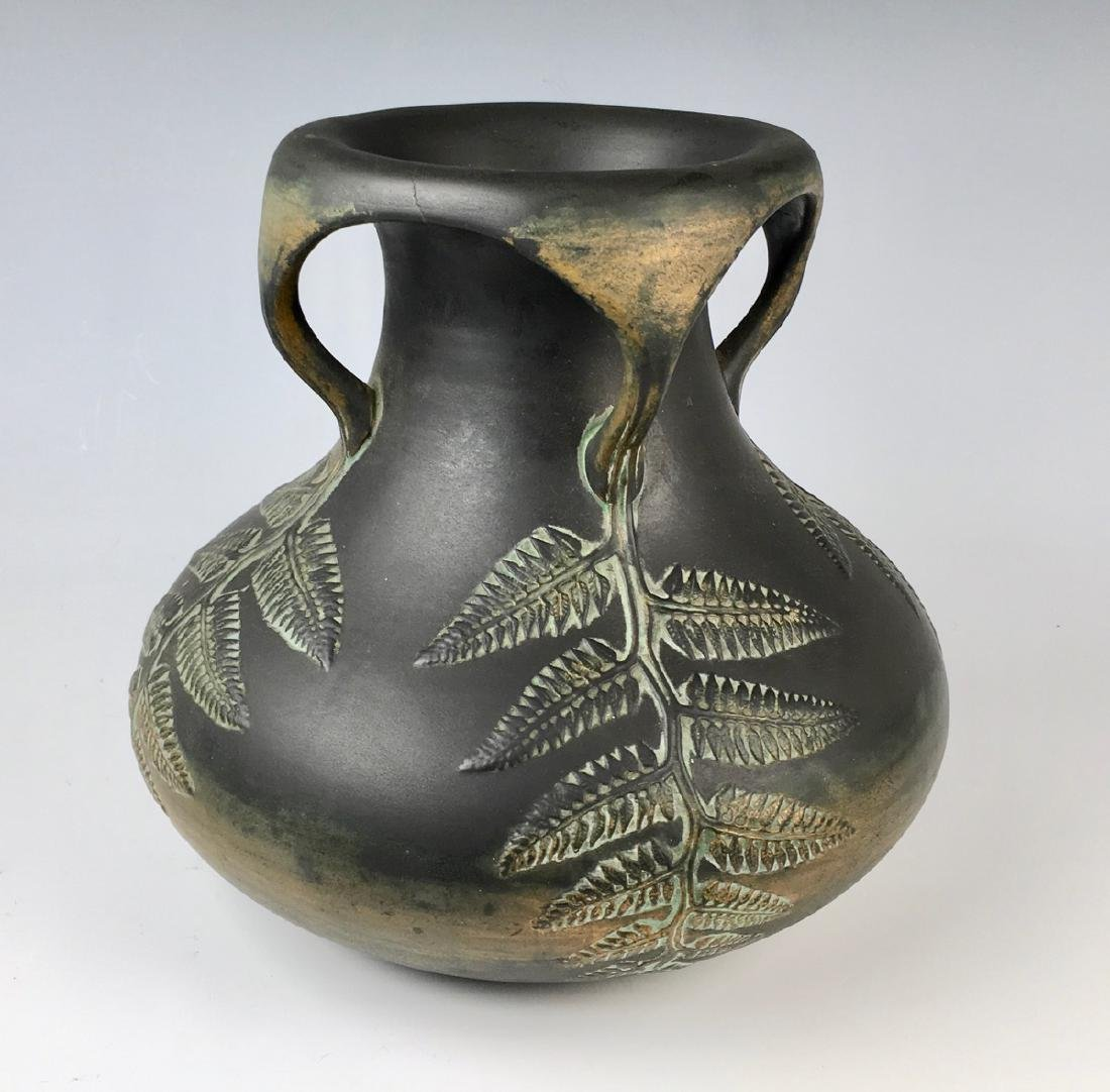 Norse Pottery Four Handled Vase w/ Ferns C.1900 - 2