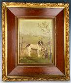 """Brittany Spaniel"" Oil on Board C. 1900"