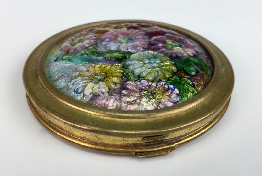 Camille Faure (1875-1956) Enamel Flowers Compact - 3