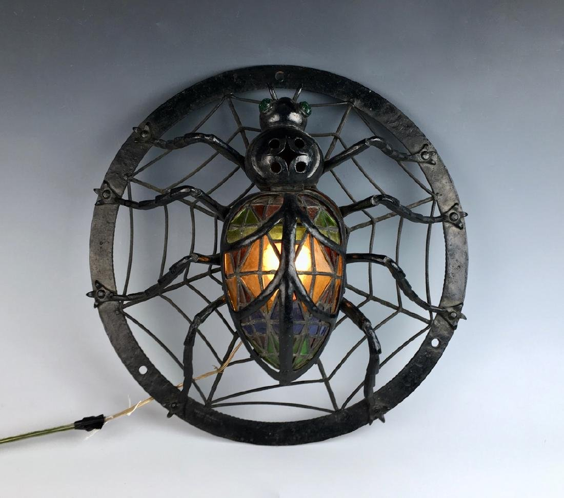 Rare Spider w/ Leaded Stained Glass & Jewels Lamp