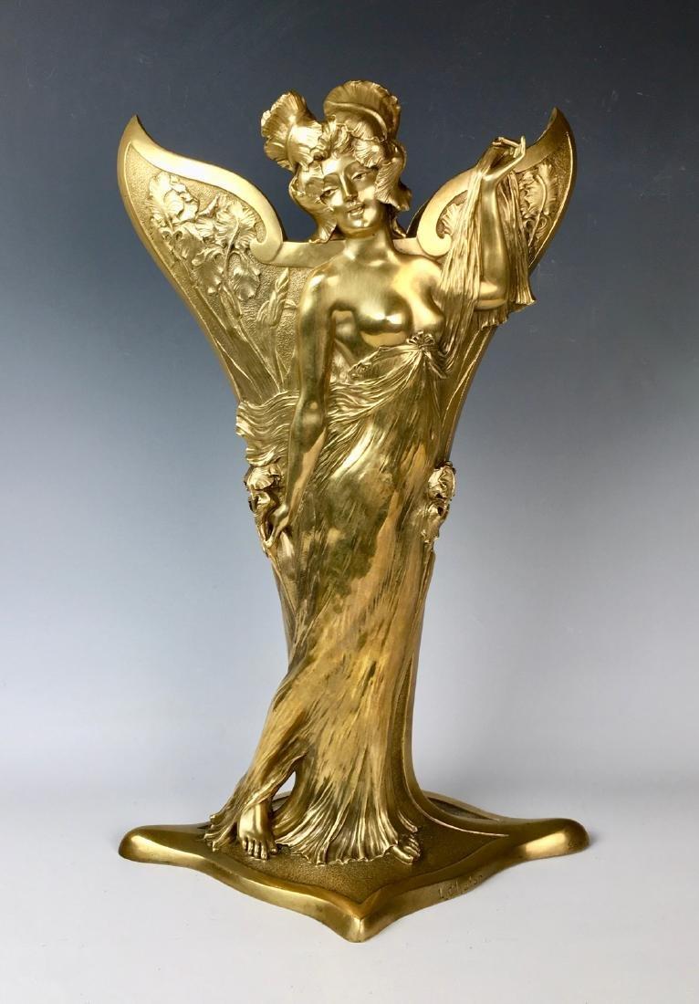 Louis Chalon Bronze Art Nouveau Lady Vase C. 1900