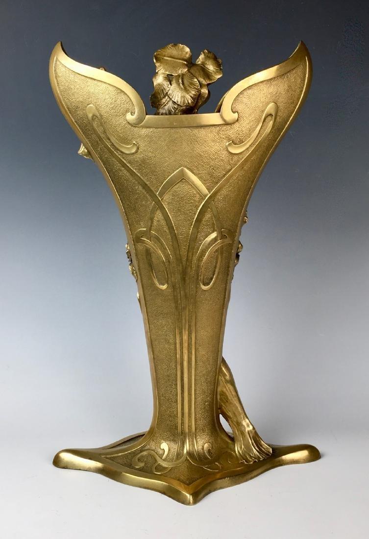 Louis Chalon Bronze Art Nouveau Lady Vase C. 1900 - 2