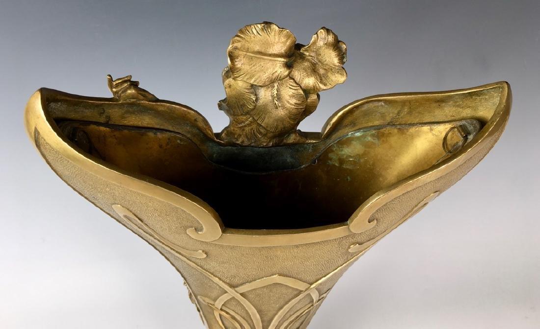 Louis Chalon Bronze Art Nouveau Lady Vase C. 1900 - 3