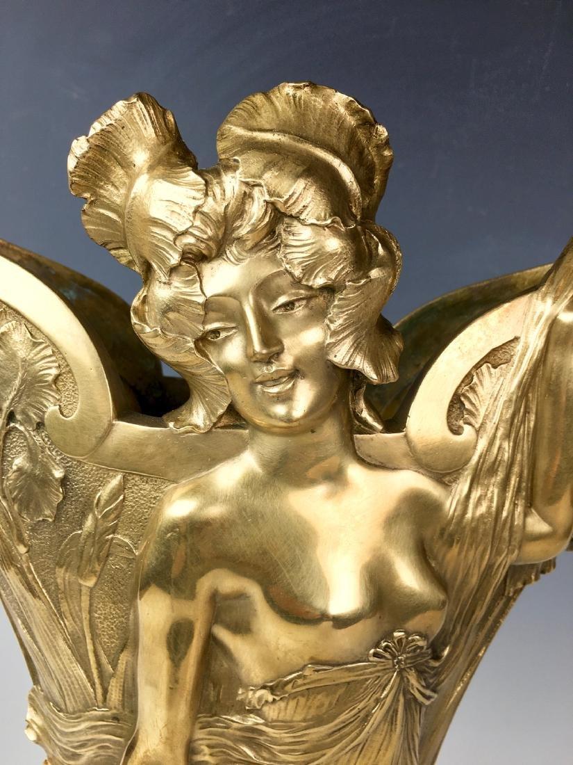 Louis Chalon Bronze Art Nouveau Lady Vase C. 1900 - 4