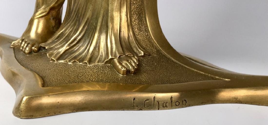 Louis Chalon Bronze Art Nouveau Lady Vase C. 1900 - 5