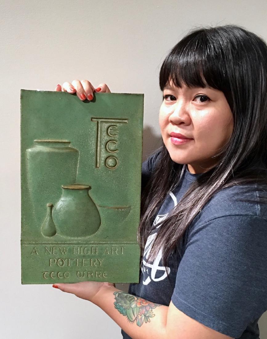 Important & Rare Teco Matte Green Display Plaque - 4
