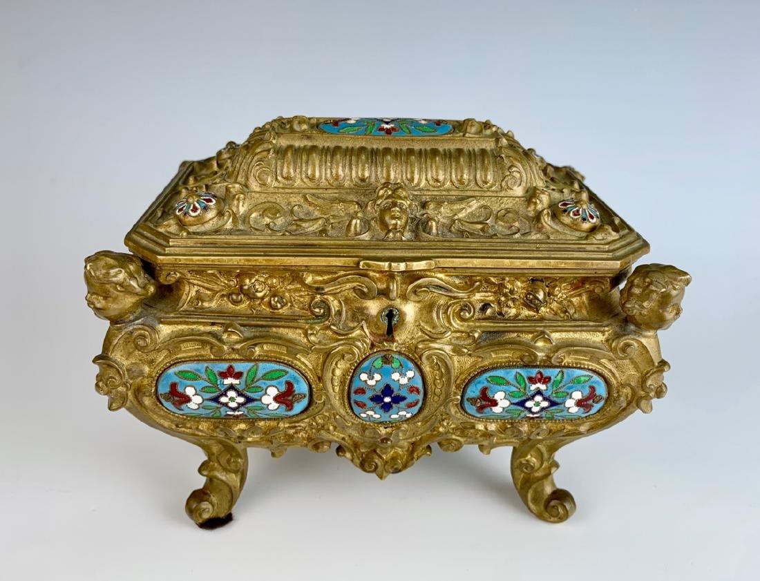 Antique Champleve Enamel & Bronze Jewelry Box