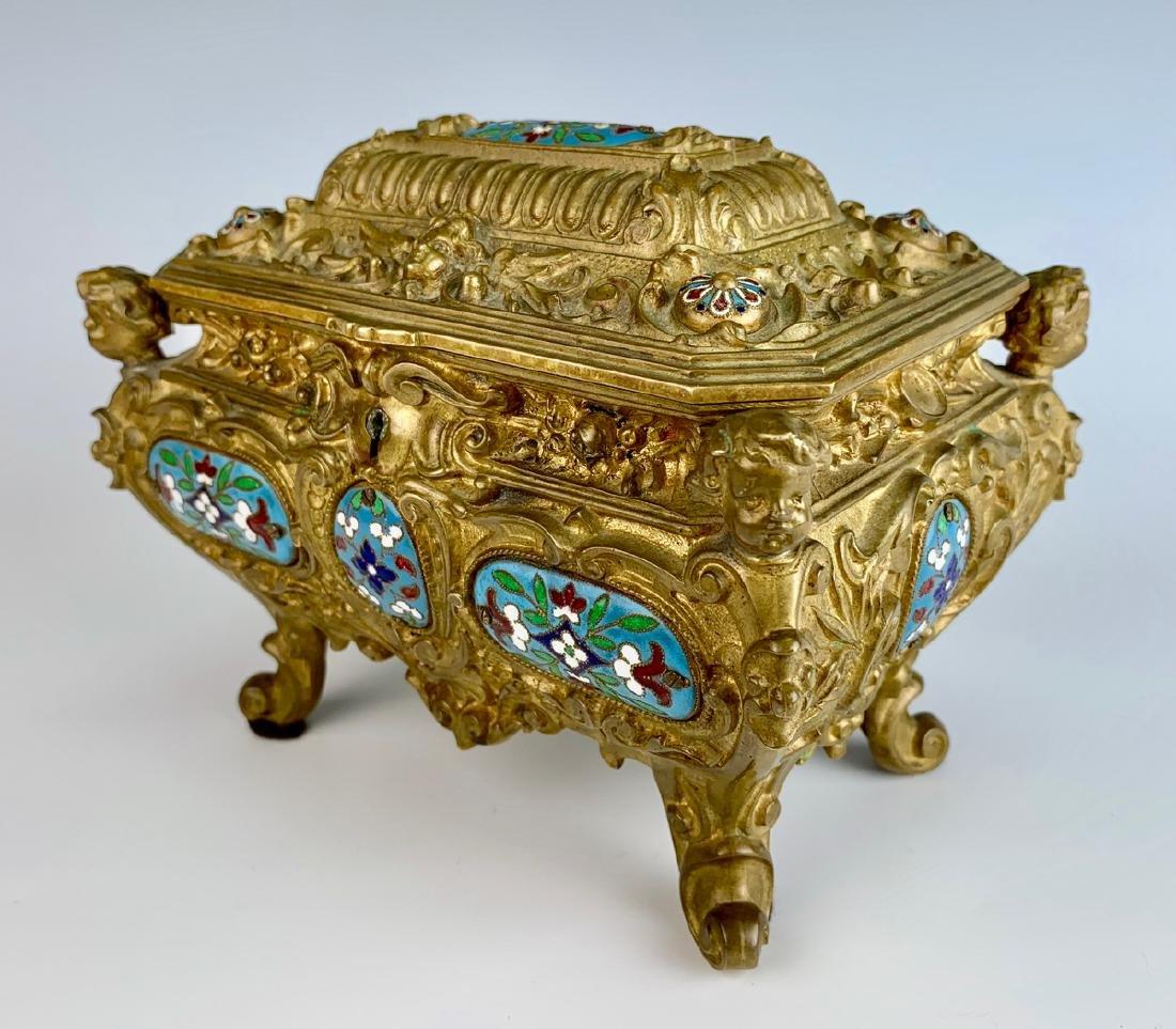 Antique Champleve Enamel & Bronze Jewelry Box - 2