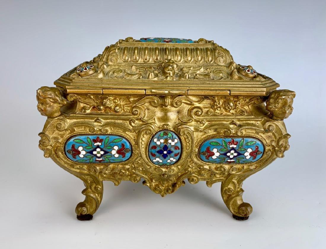 Antique Champleve Enamel & Bronze Jewelry Box - 4