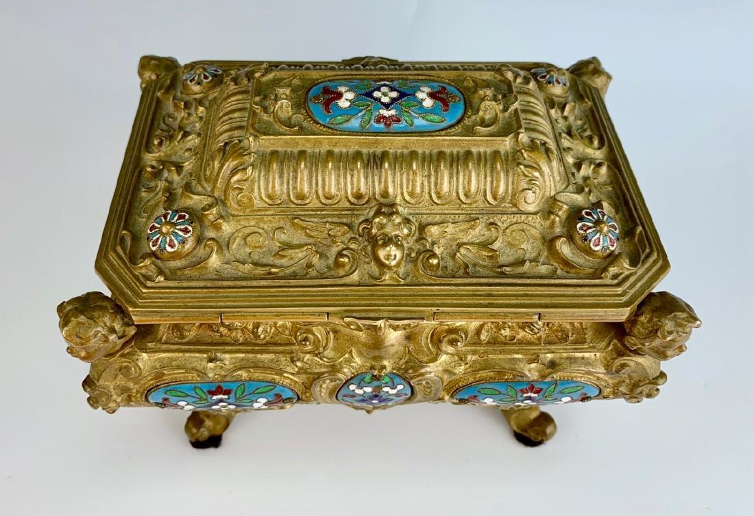 Antique Champleve Enamel & Bronze Jewelry Box - 5