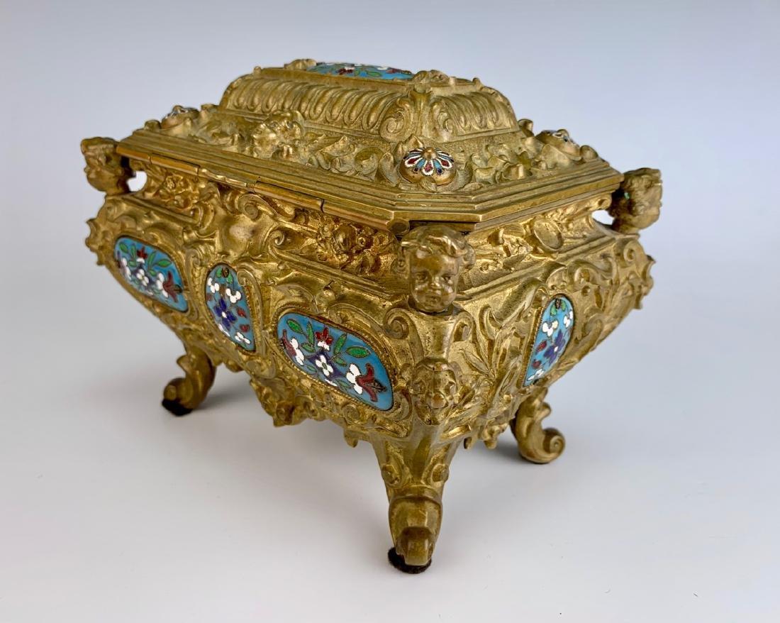 Antique Champleve Enamel & Bronze Jewelry Box - 6