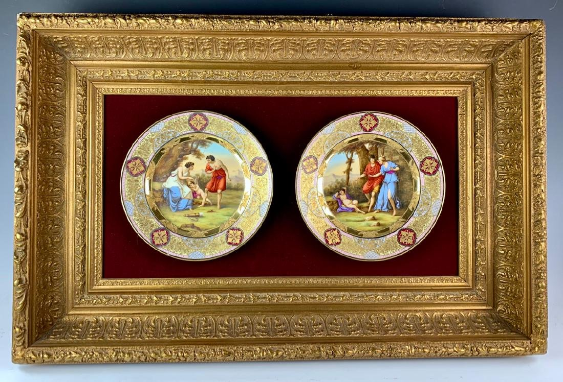 Royal Vienna Attributed Framed Hand Painted Plates