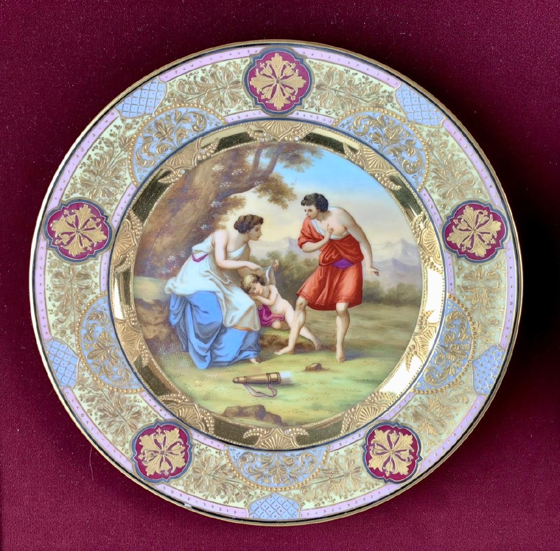 Royal Vienna Attributed Framed Hand Painted Plates - 2