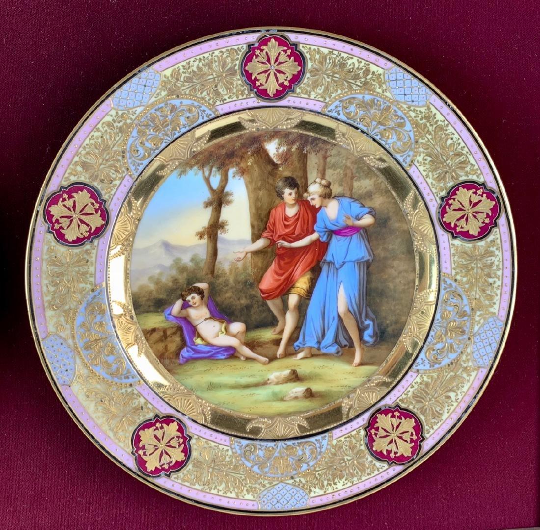 Royal Vienna Attributed Framed Hand Painted Plates - 3