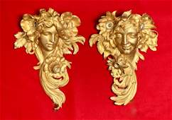 Period Bronze Art Nouveau Face Sconces C 1900