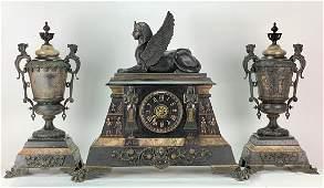 Late 19 C. Large Egyptian Revival Clock Garniture