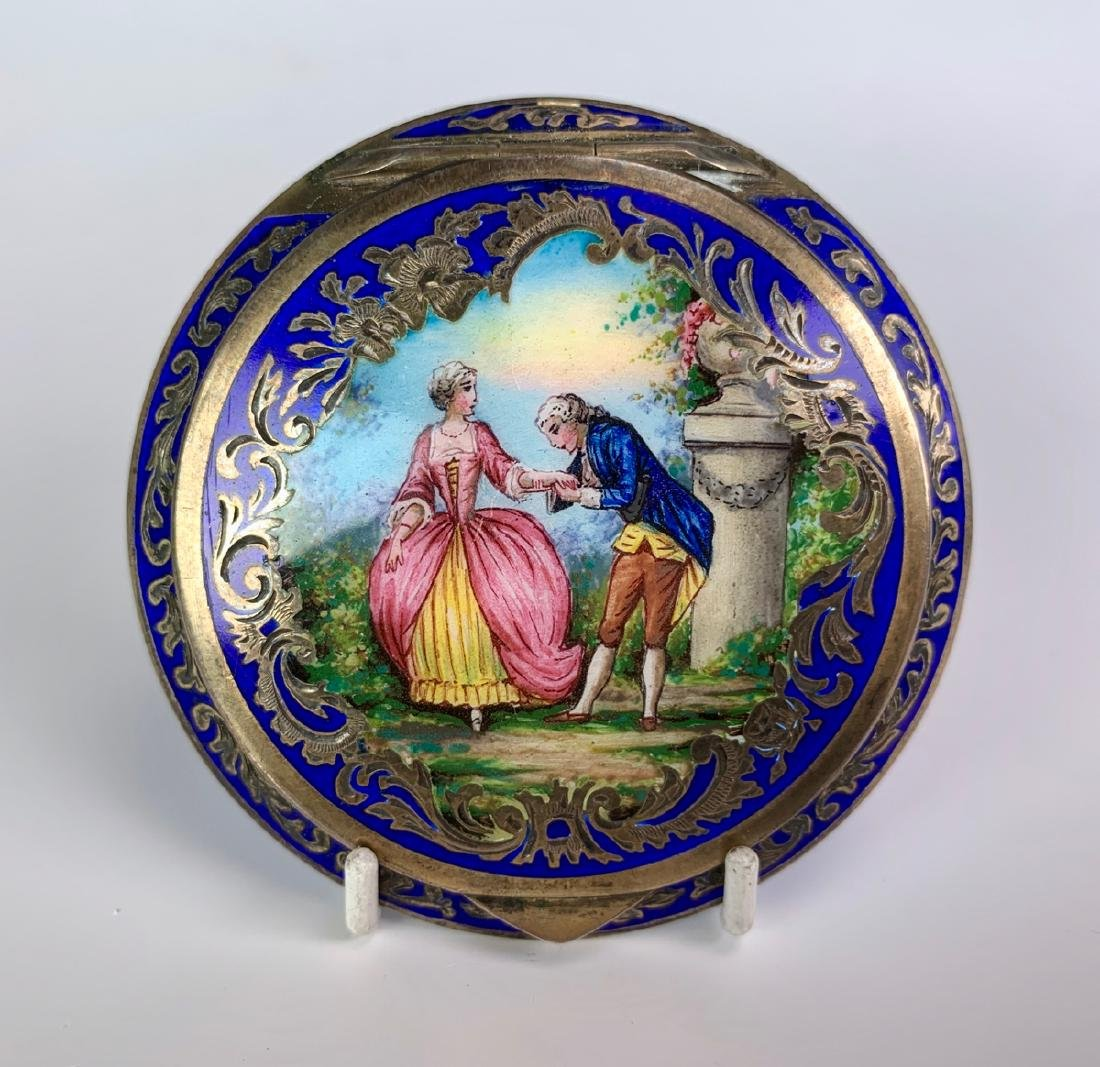 Vintage Austrian Silver and Enamel Compact