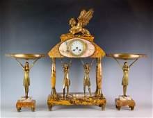 Art Deco Egyptian Gilt Bronze 3pc Clock Garniture