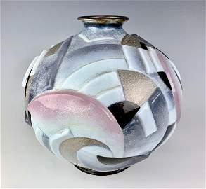 Large Camille Faure Art Deco Enamel Vase C. 1930s