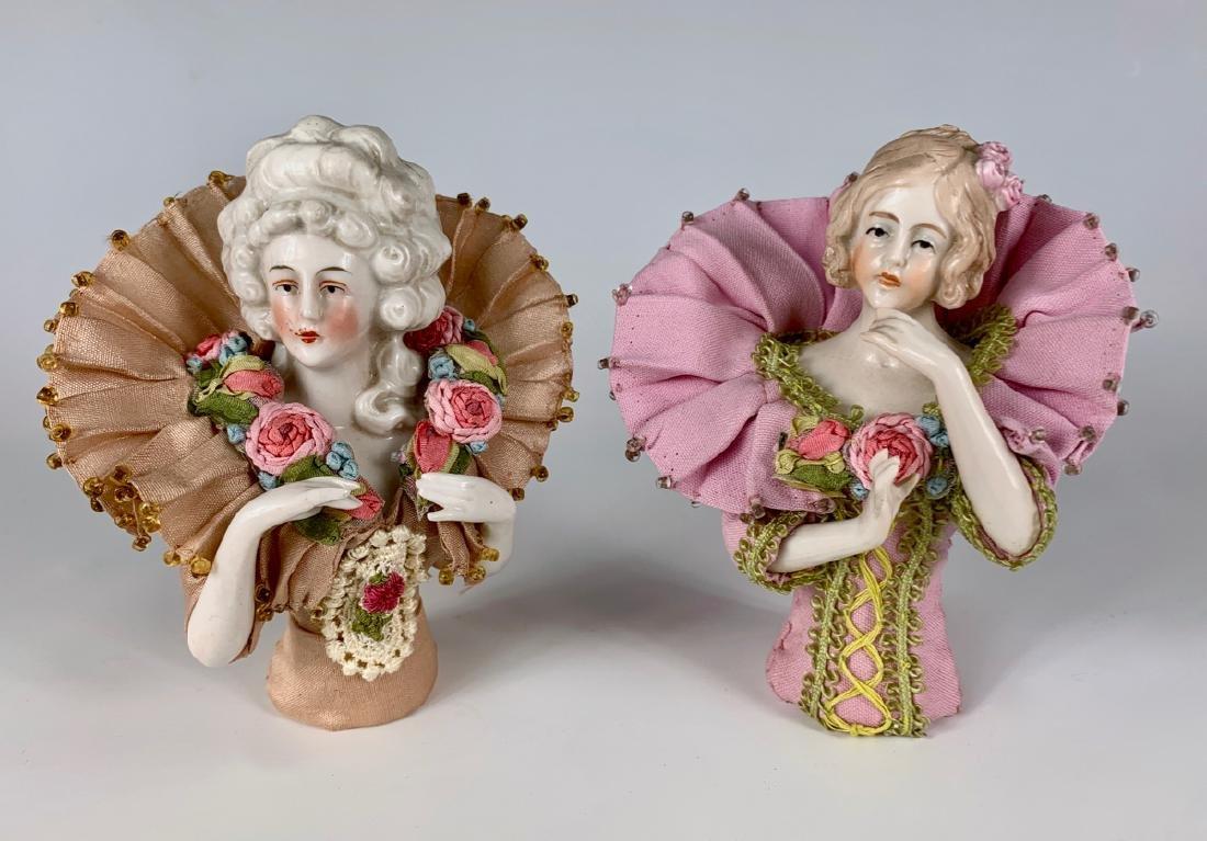 Pair of German Porcelain Half Dolls C. 1920's