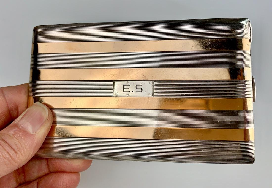 Sterling Silver & 14k Gold Cigarette Case