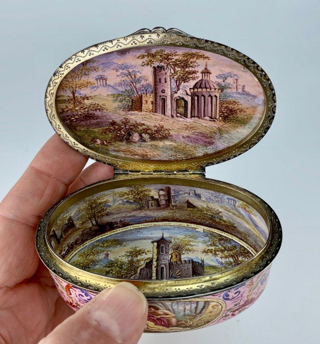 Oval Enamel Austrian Sterling Silver Box