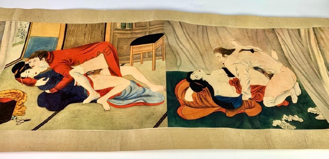 Unusual Erotic Japanese Scroll, Shunga 19th C.
