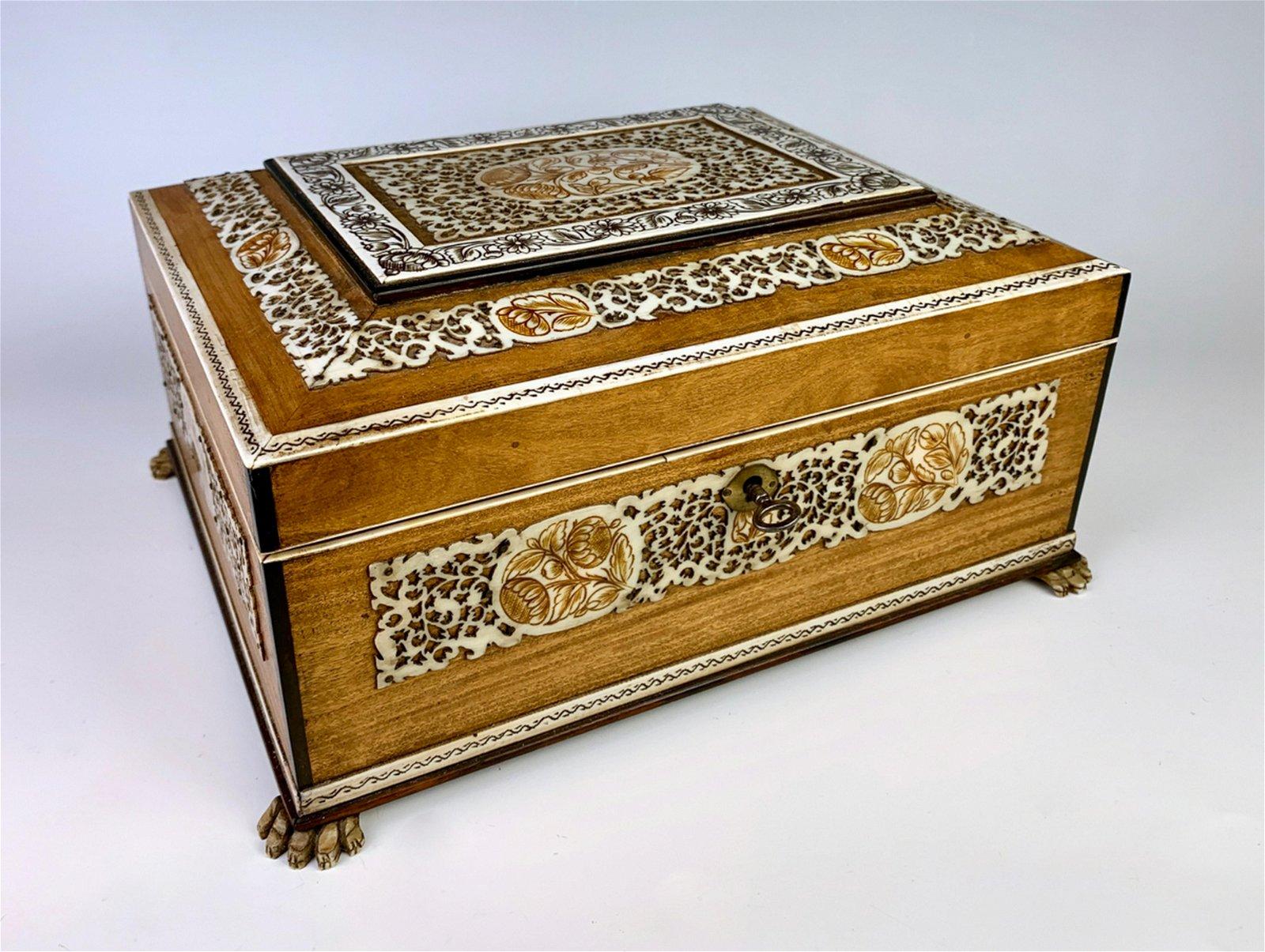 Anglo-Indian Large Jewelry Box w/ Bone Inlay