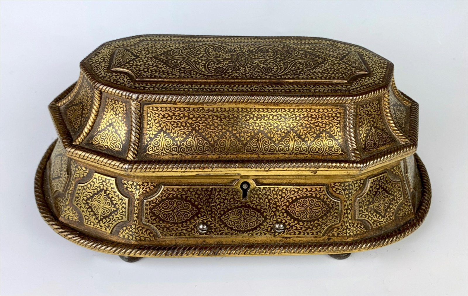 Antique Iron with Gold Inlay Middle Eastern Box