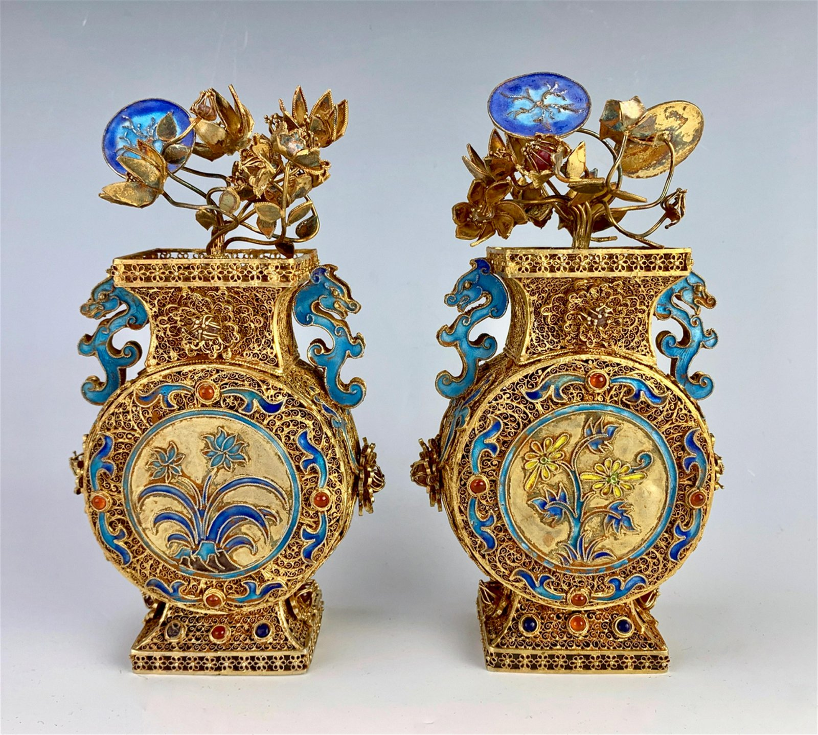 Pair of Chinese Silver & Enamel Miniature Urns