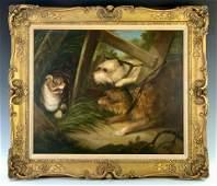 Edward Armfield (1817-1896) Terriers & Scared Cat