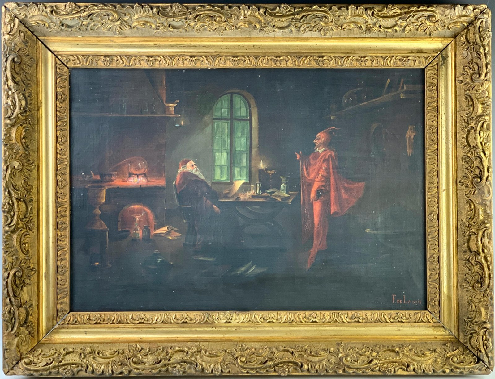 Faust & Mephistopheles Painting Sgd. F. Delaquis