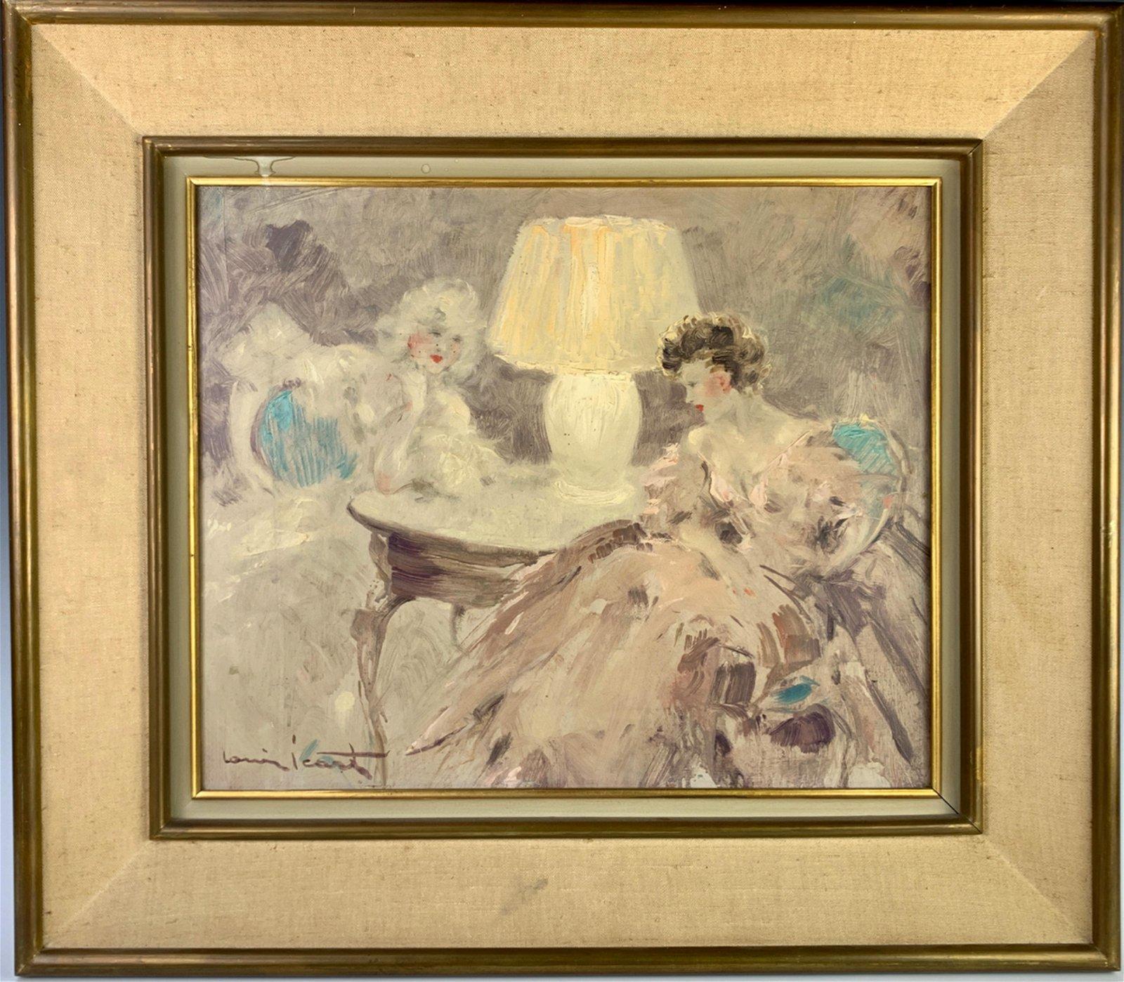 "Louis Icart (1888-1950) ""Intimite"" Oil on Board"