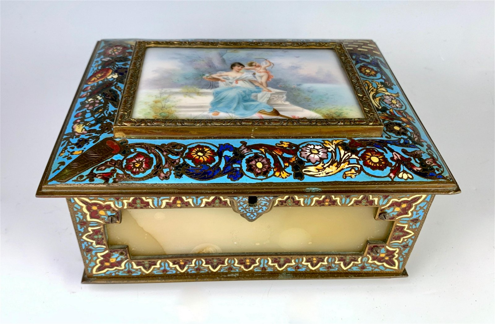 Antique French Champleve, Onyx & Bronze Box