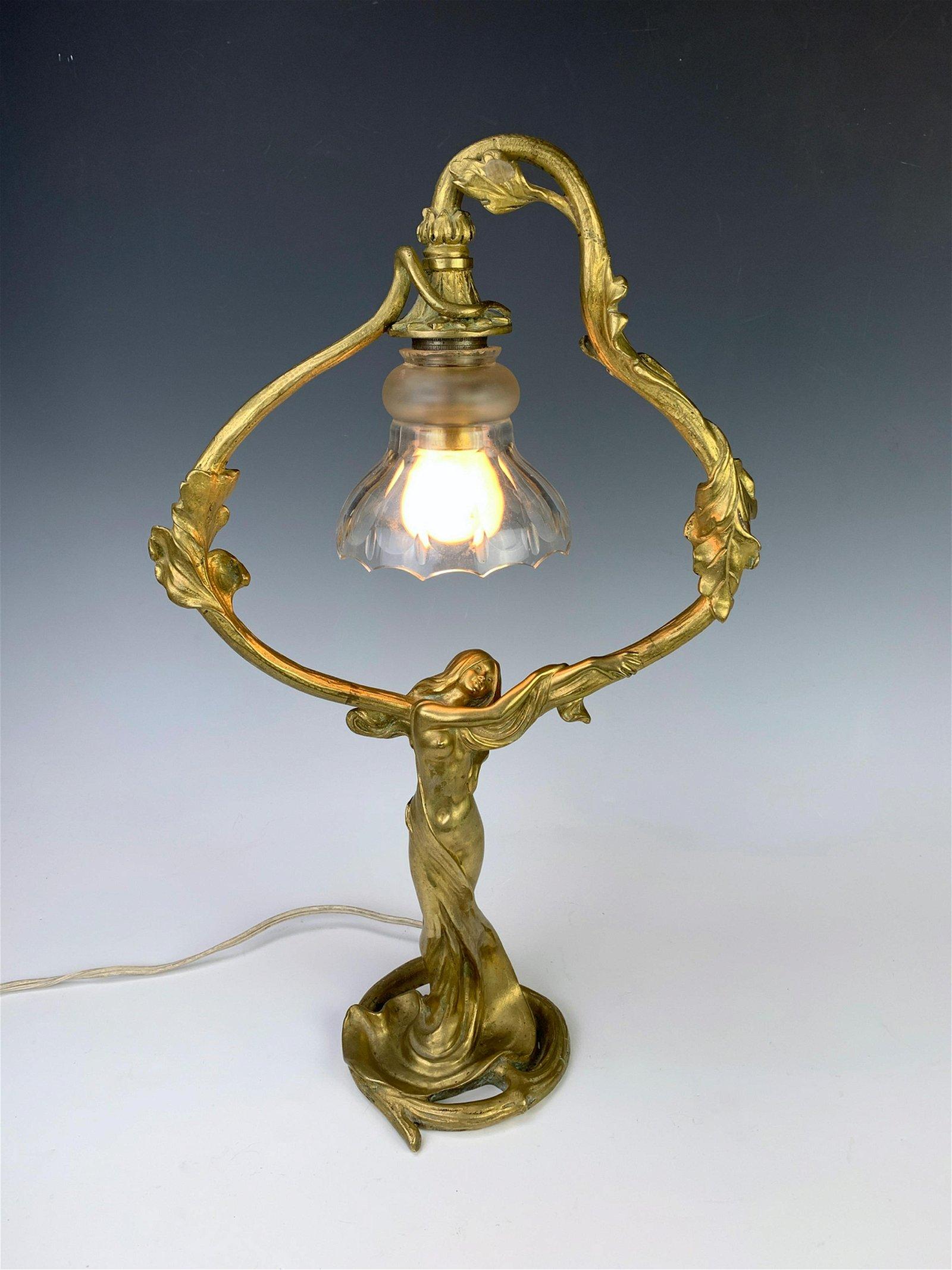 Sgd. Jonchery Art Nouveau Bronze Nude Figural Lamp