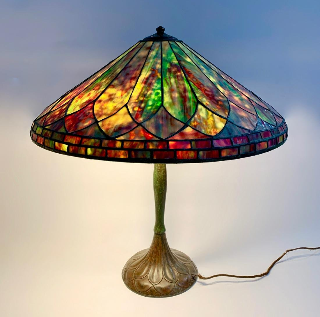 "Large Handel ""Fire"" Leaded Glass Table Lamp"