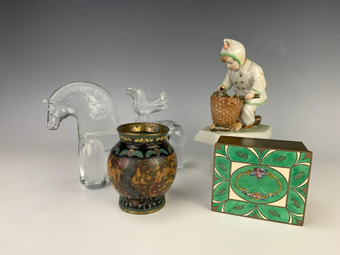 Group of 4 Enamel Box, Porcelain Figure & More