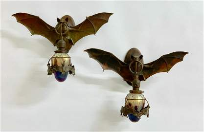 Pair Bronze Bat Wall Sconces w/ Art Glass Shades