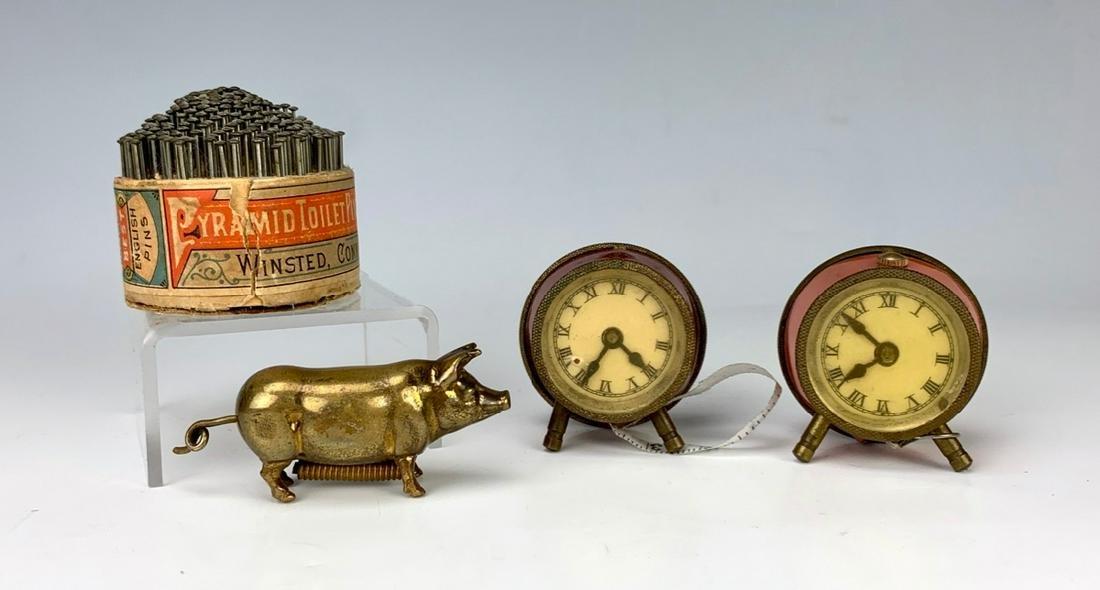 3 Antique Figural Tape Measures & Advertising