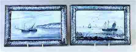 Pair of Galle Hand Painted Pottery Plaques