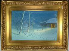 Evening Snowstorm Watercolor Painting sgd Sether