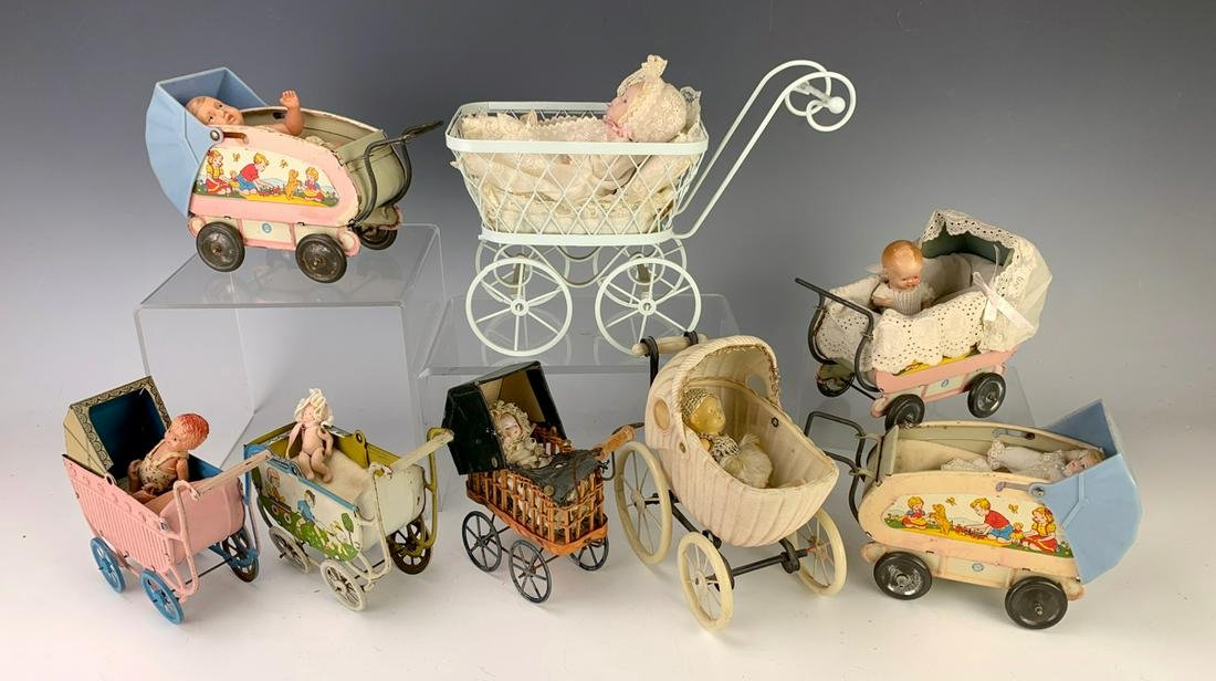 Collection of 8 Antique Baby Carriages w/ Babies