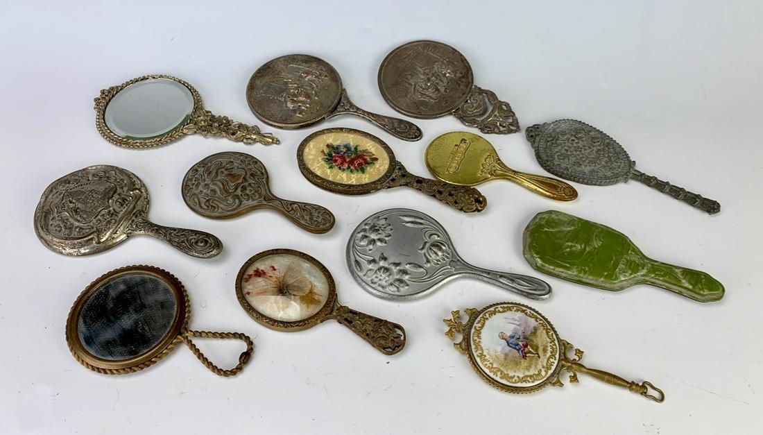 13 Antique Doll Hand Mirror